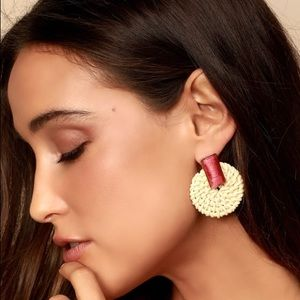 🆕🔥 Red Woven Circle Earrings